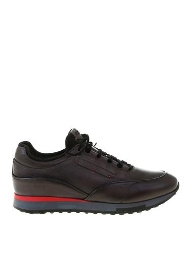 Greyder Greyder Erkek Bağcıklı Deri Sneaker Füme